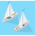 Yacht Set Isometric View vector image vector image