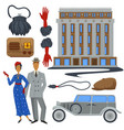 1930s fashion style and architecture clothes and vector image vector image