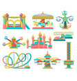 amusement park design elements set merry go round vector image