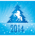 Background with horse silhouette Christmas tree vector image vector image