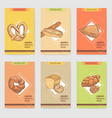 bakery hand drawn brochure cards design with bread vector image vector image