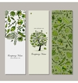 Banners set tropical tree design vector image vector image