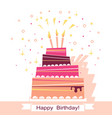 birthday sweet cake card vector image vector image