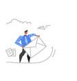 businessman sending envelope message social media vector image