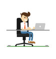 businessman work on laptop icon vector image
