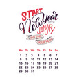 calendar for january 2 0 1 8 hand drawn vector image vector image