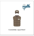 Cap and jacket Fisherman equipment vector image