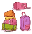 cartoon of color bags set vector image vector image