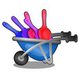 childrens plastic colored shovels for snow in vector image