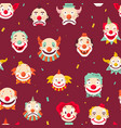 circus clowns faces seamless pattern jokers with vector image vector image