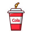 cola plastic glass icon cartoon style vector image