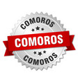 comoros round silver badge with red ribbon vector image vector image