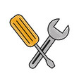 construction screwdriver and spanner tool vector image