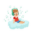 cute little boy sitting on cloud listening music vector image vector image