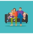 Family eating popcorn and watching movie in home vector image vector image