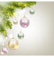 fir-tree branches and baubles vector image vector image
