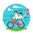 Flat design couple riding bicycle vector image vector image