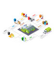 garbage sorting and recycling isometric vector image