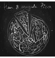 ham and argula pizza drawn in chalk on a vector image