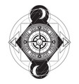 hand drawn of vintage compass tattoo artwork vector image