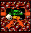 happy halloween red seamless background vector image