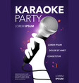 karaoke party poster with microphone vector image vector image