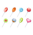 lollipops sweet lolly candies round and spiral vector image vector image
