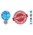 mosaic bulb icon with distress greetings stamp vector image vector image