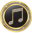 Music note gold icon with diamonds