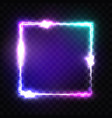neon sign night square frame with glow and light vector image vector image