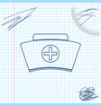 nurse hat with cross line sketch icon isolated on vector image