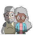 old coupe people with glasses and hairstyle vector image