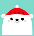 polar white bear cub face red hat merry christmas vector image vector image