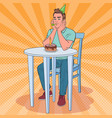 pop art unhappy man celebrating birthday alone vector image vector image