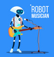 robot musician playing guitar and singing into vector image vector image