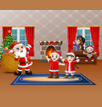 santa claus holding sack of gift for children vector image vector image
