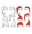 santa red hats with white fur sketch set vector image