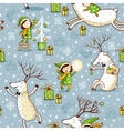 Seamless Pattern with girl and deer vector image vector image