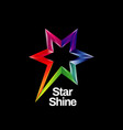 shiny vibrant colorful rainbow star logo symbol vector image vector image