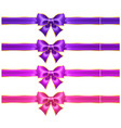 silk ultra violet and pink bows with golden vector image vector image