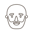 sketch contour caricature old bald man bearded vector image