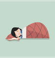 small girl sleeping with pillow and blanket vector image