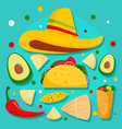 sombrero mexican food concept background flat vector image