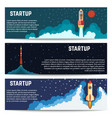 startup rocket ship launch horizontal banners set vector image