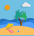 summer in paper art design sun sea beach palm vector image