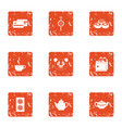 tea daytime icons set grunge style vector image vector image