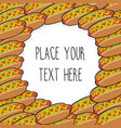 template with many hot dogs vector image vector image