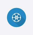 video film Flat Blue Simple Icon with long shadow vector image vector image