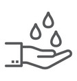 water drops in hand line icon ecology vector image