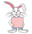 white rabbit with blank sheet vector image